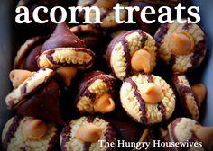 Acorn treats from The Hungry Housewives Fall Desserts, Just Desserts, Delicious Desserts, Dessert Recipes, Yummy Food, Baking Recipes, Fall Treats, Holiday Treats, Fall Recipes