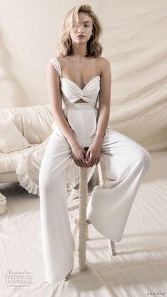 lihi hod 2018 bridal one shoulder sweetheart bikini top sophiscated chic pants wedding dress (16) mv -- Lihi Hod 2018 Wedding Dresses