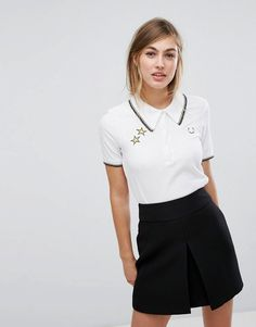 d375c1b2faf5 Fred Perry Bella Freud Retro Polo Shirt - White Polo Shirt Style