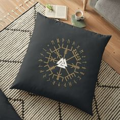 'Vegvisir' Floor Pillow by Bad Box Floor Pillows, Throw Pillows, Vegvisir, Norse Mythology, Art Boards, Duvet Covers, Finding Yourself, Symbols, Canvas