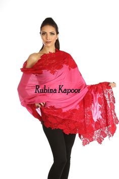 Title : Rubina Kapoor's Pink With Red Lace With the finest quality Shawl  #Scarves #RubinaKapoor #London #UnitedKingdom #shawl #Red #Lace #Stole #New #Arrival