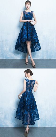Dark blue high low short prom dress, lace evening dress - Evening Dresses and Fashion Trendy Dresses, Cheap Dresses, Elegant Dresses, Cute Dresses, Beautiful Dresses, Casual Dresses, Dress Outfits, Short Dresses, Fashion Dresses