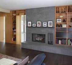 , Captivating Shelving Around Fireplace Modern Family Room Also Dark Brown Laminate Floor Also Jars Ornament And Some Books Also Modern Fireplace Design: Shelving Units for Living Room Ideas Fireplace Built Ins, Fireplace Hearth, Fireplace Remodel, Modern Fireplace, Fireplace Surrounds, Fireplace Design, Fireplace Ideas, Fireplace Shelves, Farmhouse Fireplace