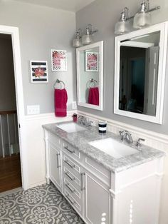 Bathroom Makeover Reveal - Pink, Navy and Gray! Beadboard Wainscoting, White Beadboard, Fish Scale Tile, Floral Shower Curtains, Small Bathroom, Bathrooms, White Tiles, Room Colors, Vanity