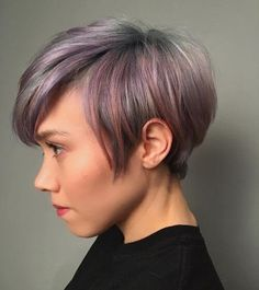 A pastel colored long pixie cut