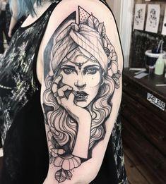 Brilliant Sleeve Gypsy Tattoo For Girls - Brilliant Sleeve Gypsy Tattoo For Girls - Gypsy Tattoo Sleeve, Portrait Tattoo Sleeve, Vintage Tattoo Sleeve, Full Sleeve Tattoo Design, Sleeve Tattoos, Vintage Tattoos, Tattoo Art, Tattoo Girls, Gypsy Girl Tattoos