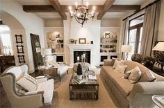living room beams, taupe and grey