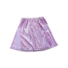 Lavender Holographic Skater Skirt (BACKORDER) ($27) ❤ liked on Polyvore featuring skirts, bottoms, clothes - skirts, purple, purple skater skirt, light purple skirt, circle skirt, flared skirt and lavender skirt