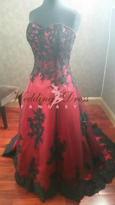 Gorgeous Red and Black Wedding Dress Sweetheart Neckline by WeddingDressFantasy on Etsy https://www.etsy.com/listing/239778380/gorgeous-red-and-black-wedding-dress