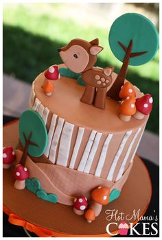 Woodland Baby Shower Cake. Awww! Fox on top instead of deer www.infanteeniebeenie.com the only hats guaranteed to fit and stay snug to all newborns! we have fox beenies!! Pretty Cakes, Beautiful Cakes, Amazing Cakes, Cupcakes, Cupcake Cakes, Woodland Cake, Woodland Party, Animal Cakes, Occasion Cakes