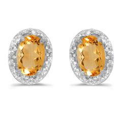 14K White Gold Oval Citrine and Diamond Earrings (7/8ct tgw)