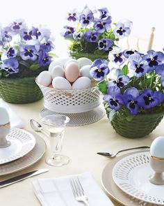 Bowls of lavendar and purple pansies.....