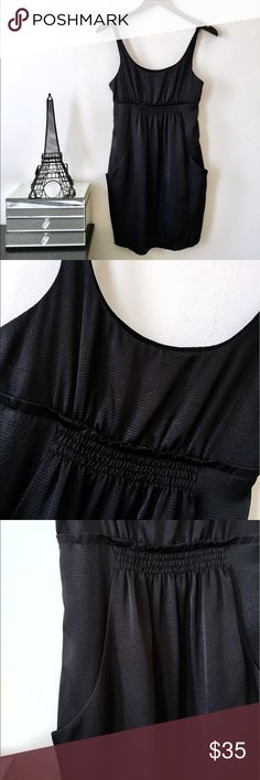 BCBGeneration Black Empire Waist Dress w/ Pockets EUC BCBGeneration Black Empire Waist Dress with Pockets. Oh how I love a dress with pockets! Super lightweight silky material. Awesome LBD. Size XS BCBGeneration Dresses