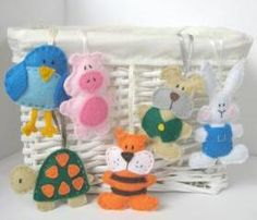 Felt animal pals sewing patterns - 6 easy to sew mini toys including rabbit, puppy, bluebird, tortoise, tiger and piglet