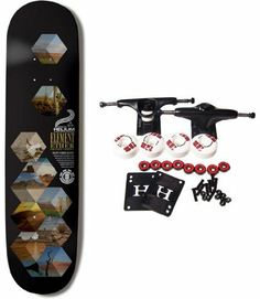 """ELEMENT SKATEBOARDS Complete Skateboard ETHER HELIUM 7.75 by element. $64.99. ELEMENT Complete Skateboard Features Helium Deck, Size 7.75"""". Complete components include Core Trucks, 52mm TGM Goth Logo Wheels, Amphetamine Abec 5 Bearings, Black Diamond Griptape, 1"""" Hardware and 1/8"""" risers."""