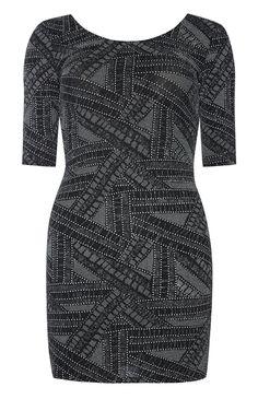Primark - Black Glitter Scoop Neck Bodycon Dress