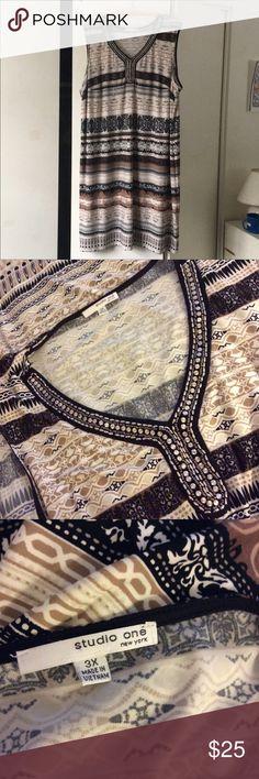 """Sleeveless Dress Embellished Neckline Sleeveless Dress Length approximately 42"""" Studio One Dresses Midi"""