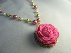 Fabric flower necklace ... rick rack rose in by lennonsleadinglady, $26.00