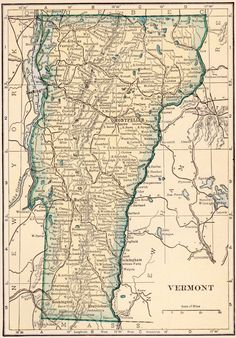 Vintage State Map Of Vermont PRINT X Larger Sizes - Vermont in us map