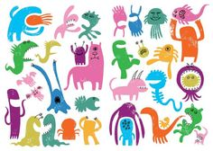 Scribble Shape Monsters - Simon Cooper #scribble #monsters #childrensbook #illustration #simoncooper
