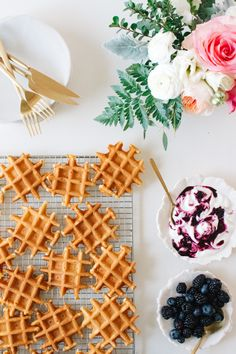 Whey Waffles with Elderberry Blueberry Yogurt Whip!