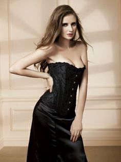 42a24c33bd Black Brocade Overbust corset with lace up back and steel front busk  closure.