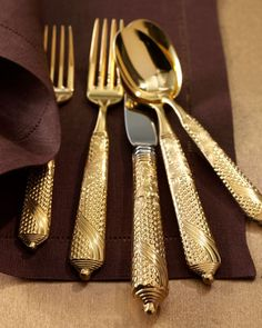 Byzantine Flatware by Yamazaki.  24kt gold plate, 18/8 stainless. Knife blades are not plated due to cutting.  Beautiful!  20 pc Service $269.90 on sale Horchow.com