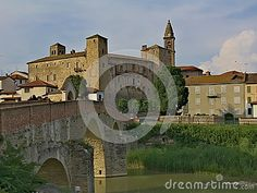 A view of the hystorical town of Monastero Bormida and its ancient bridge