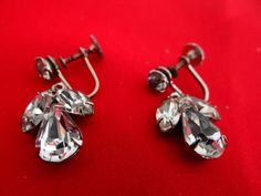 Vintage 1  rhinestone silver dangle earrings with three by jeanmc, $15.00