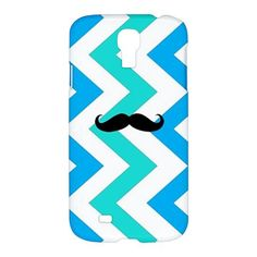 Cool Blue Chevron Mustache Samsung Galaxy S4 S 4 Hardshell Case Cover
