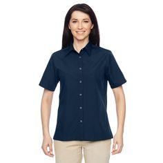 Advantage Women's Snap Closure Short-Sleeve Dark Navy Shirt