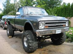 68 Chevy jacked up! Early Bday gift for hubby??? car, jacked up chevy trucks, old chevy trucks lifted, mud, jacked up trucks, dream, chevrolet, old trucks, lifted trucks