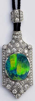Edwardian opal and diamond pendant set in platinum