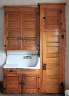 Early Kitchen Cabinets And Porcelain Corner Sink   Long Leaf Yellow Pine ( Kitchen)