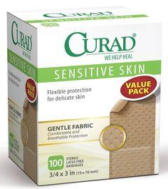 "Curad Sensitive Skin Bandages, 3/4"" x 3"", 100/Box"