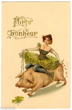 Postcard French New Year Wishes Porte Bonheur Dancer Rides Pig