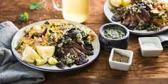Portobello Steaks with Tomato Orzo Salad & Chimichurri