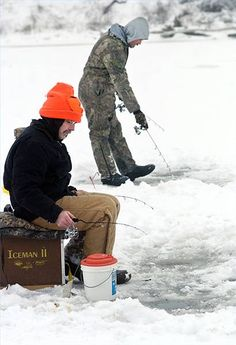 """""""Ice fishing is great. Me and my dad share a hut with some guys from his work. The riverbanks here aren't too steep, which works for my chair, and once I'm on the ice I'm good."""" - from Red River Raging"""