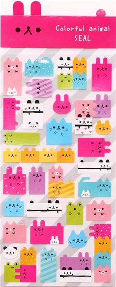 colorful square Kamio animal rabbit stickers from Japan 2