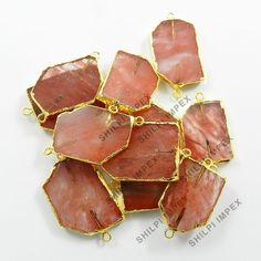 Beautiful Cherry Crackle Glass Brass Electroplated 5Pc Wholesale Lot Connectors #Shining_Gems #Connectors #Jewelry #gemstone