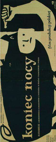 """Polish Movie Poster by Jan Młodożeniec, """"Koniec nocy"""" (End of the Night), 1957, directed by J. Dziedzina, P. Komorowski, W. Uszycka."""
