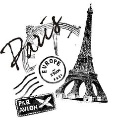 Pariscollage rubber stamp WM 27x27 inches by dragonflybuzz on Etsy, $8.25