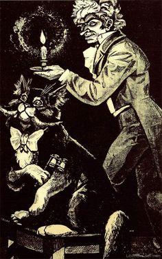 Иллюстрации к «Мастеру и Маргарите»: Офорты Виктора Ефименко. Бегемот и Азазелло (из триптиха «При свечах») «Теперь на шее у кота оказался белый фрачный галстук бантиком, а на груди перламутровый дамский бинокль на ремешке».