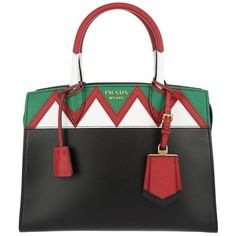 Prada Handle Bag - Esplanade Borsa A Mano Saffiano + City Calf Tote... (3 035 AUD) ❤ liked on Polyvore featuring bags, handbags, tote bags, tote handbags, prada tote, gold tote, red tote and green tote bag