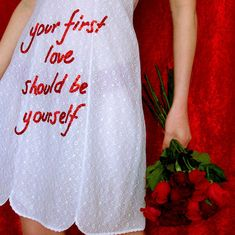 """Your first love should be yourself"" Make self love a priority and if anyone tries to deter you from that, bin them. They aren't good for you!!! This limited edition dress is from the ""In Bloom"" collection.Meticulously hand embroidered sequin detail on a 60s vintage wedding dress.Measurements:Bust: 15 inchesWaist: 14 inchesLength: 35 inchesThis dress is one of a kind, the only one in the world.Tracked worldwide shipping."