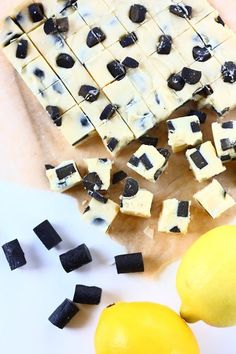 Lemon and liquorise fudge Candy Recipes, Sweet Recipes, Finnish Recipes, Delicious Desserts, Yummy Food, Chocolate Sweets, Sweet Pastries, Gluten Free Treats, Homemade Candies