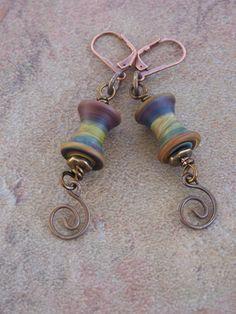 Spools & Swirls Earrings by JustImagineJewelry on Etsy, 22usd