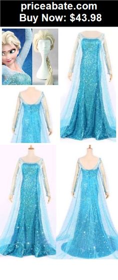 Women-Costumes: ADULT FROZEN ELSA COSTUME LIGHT BLUE HALLOWEEN OUTFIT DRESS + WIG - BUY IT NOW ONLY $43.98