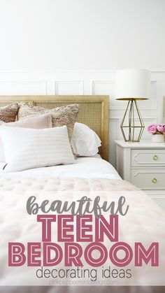 Cute room ideas for teenage girl bedroom ideas in a sophisticated color palette that will grow with your teenager. Pretty girl's room decor and girl's bedroom accessories for a beautiful, modern girls bedroom. Cute Teen Bedrooms, Girls Bedroom Sets, Teenage Girl Bedroom Designs, Girls Bedroom Furniture, Bedroom Decor For Teen Girls, Room Ideas Bedroom, Bedroom Themes, Boy Bedrooms, Girls Bedroom Accessories