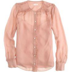 J.Crew Collection ruffle-trim chiffon blouse found on Polyvore